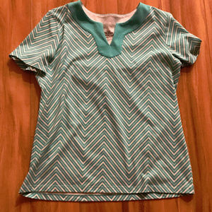 Coral Bay Blue Green And White Zig Zag Pattern